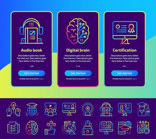 Pantallas de aplicaciones incorporadas de educación y conjunto de ilustración de aprendizaje electrónico.
