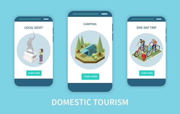 Pantallas de aplicaciones isométricas verticales de turismo nacional configuradas con un campamento de vista local y personas que realizan un viaje en bicicleta