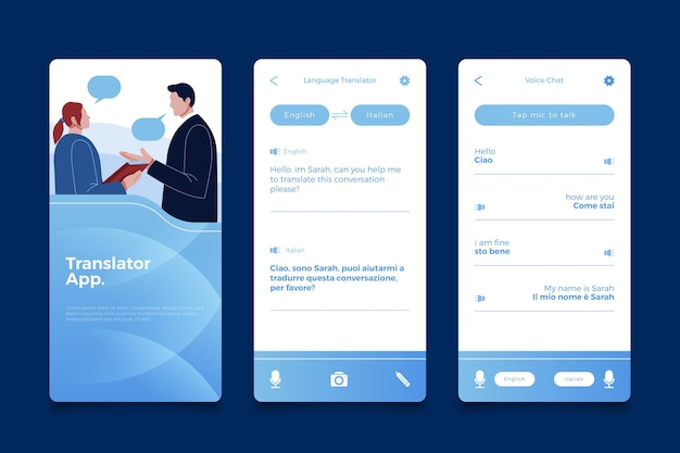 Pantallas de aplicaciones de traductor