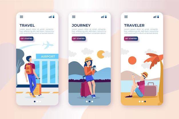 Pantallas de aplicaciones de viaje