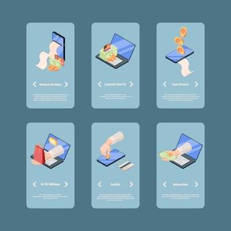Pantallas de diapositivas isométricas de la aplicación de pago en línea.