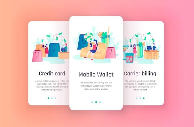 Pantallas de incorporación de conceptos de tarjeta de crédito y billetera móvil para plantillas de aplicaciones financieras. aplicación moderna de fintech. presupuesto personal, costos y aplicación de administración de compras en línea móvil introducen.
