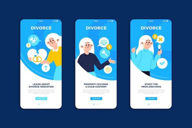 Pantallas de incorporación de mediación de divorcio
