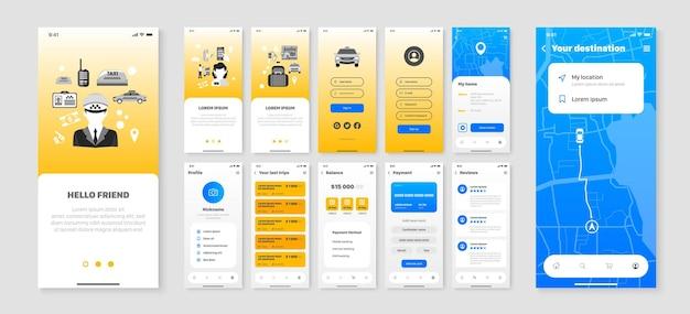 Pantallas móviles configuradas con interfaz de usuario de la empresa de taxis de aplicaciones para teléfonos inteligentes y navegación de la ciudad plana aislada