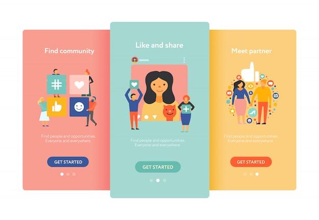Pantallas móviles de redes sociales planas y coloridas con búsqueda de socios de la comunidad como compartir