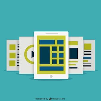Pantallas tablet en diseño plano vector gratuito