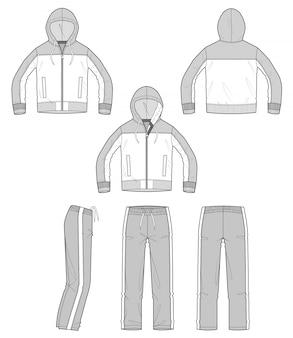 Pantalones de chaqueta de ropa deportiva set vector diseño ilustración plantilla