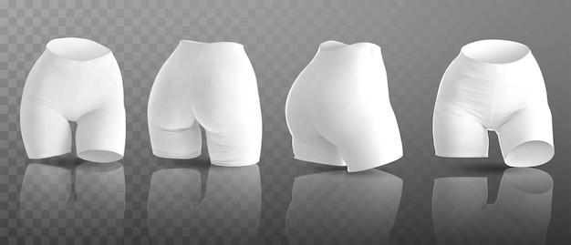 Pantalones cortos de ciclismo para mujer en diferentes posiciones.