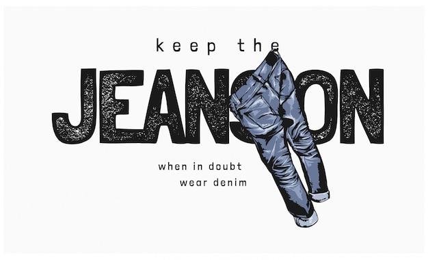 Pantalones vaqueros con jeans ilustración colgando