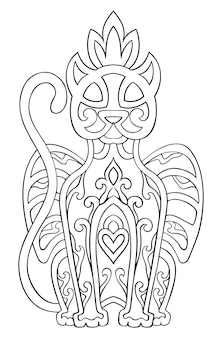 Pantera abstracta de vector. adorno étnico oriental. plantilla para libros para colorear, tatuaje. elemento de diseño.