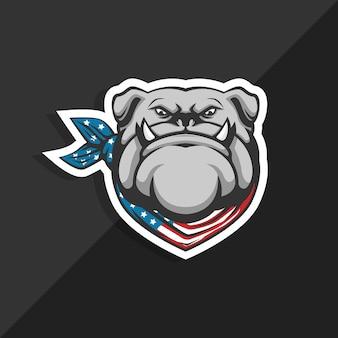 Pañuelo de bandera de bulldog americano. logotipo de la mascota.