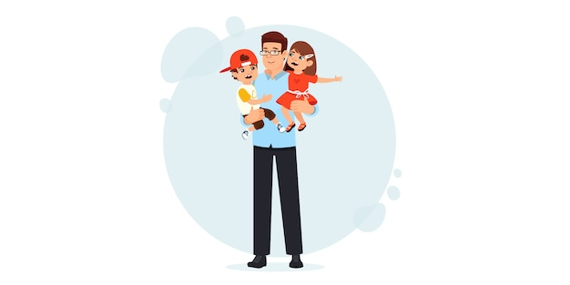 Papá e hijo en brazos. feliz día del padre. los niños felices pasan tiempo con su padre.
