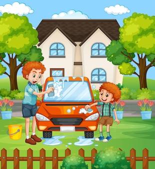 Papá e hijo lavando auto frente a la escena de la casa