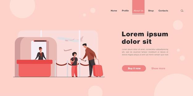 Papá e hijo de pie en el mostrador en la página de inicio del aeropuerto en estilo plano