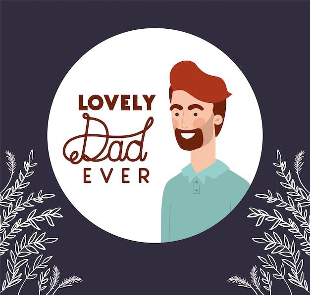 Papá encantador alguna vez texto hombre de dibujos animados y hojas
