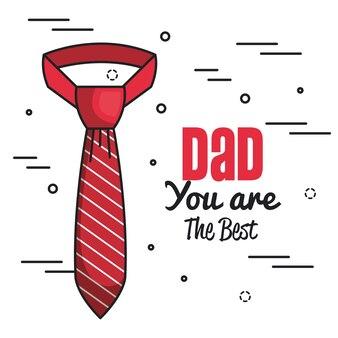 Papá eres la mejor carta con corbata roja a rayas