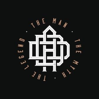 Papá. el hombre, el mito, la leyenda. diseño del emblema del logotipo del monograma de papá sobre fondo negro para imprimir camisetas o cualquier regalo o recuerdo personal para el día del padre o el cumpleaños del padre. ilustración