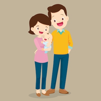Papá y mamá con lindo bebé