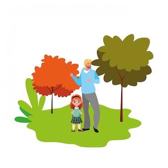 Papá y niña estudiante al aire libre regreso a la escuela