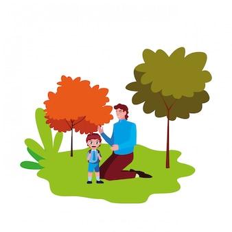 Papá y niño estudiante al aire libre regreso a la escuela