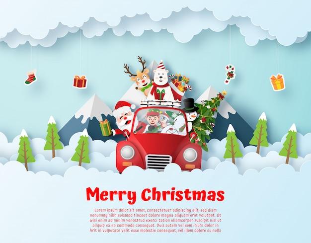 Papá noel y amigos conduciendo autos rojos de navidad