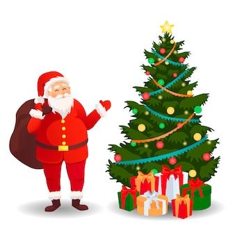 Papá noel con árbol de navidad. tarjeta de navidad.