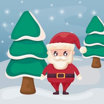 Papá noel con árboles de navidad en el paisaje de invierno