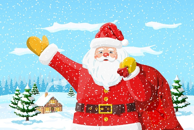 Papá noel con bolsa con ilustración de regalos