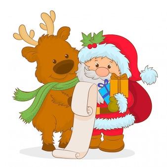 Papá noel y ciervos de navidad