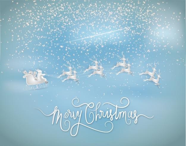 Papá noel dando un regalo con renos y estrellas brilla en el cielo. estilo de arte de papel