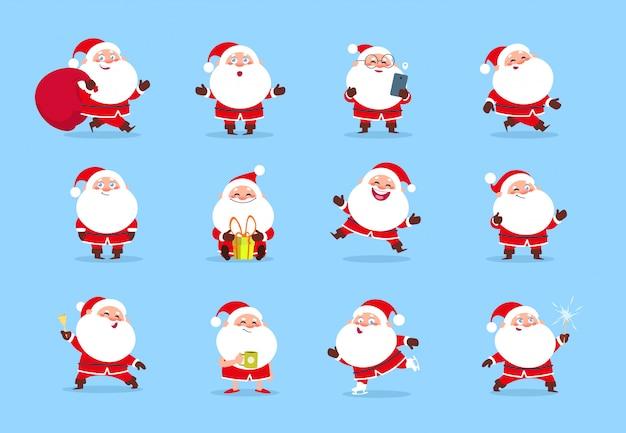 Papá noel. dibujos animados navidad divertido juego de caracteres para la tarjeta de felicitación de vacaciones de invierno. colección de santa