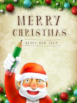 Papá noel escribiendo feliz navidad en el cielo