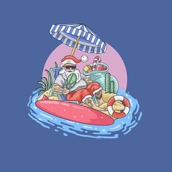 Papá noel en la ilustración de vacaciones