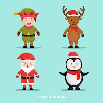 Papá noel con lindos animales y personajes elfos