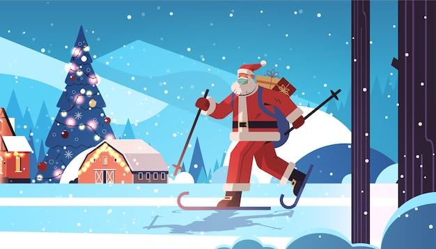 Papá noel en máscara de esquí con cajas de regalo feliz año nuevo feliz navidad vacaciones concepto de celebración paisaje de bosque de invierno fondo horizontal de longitud completa ilustración vectorial