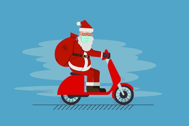 Papá noel en la máscara que conduce la vespa que entrega los regalos feliz navidad feliz año nuevo concepto de vacaciones.