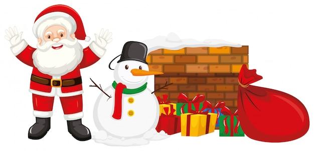 Papá noel y muñeco de nieve junto a la chimenea