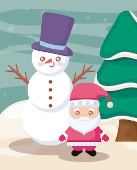 Papá noel y muñeco de nieve con paisaje de invierno