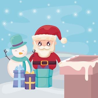Papá noel con muñeco de nieve en el paisaje de invierno