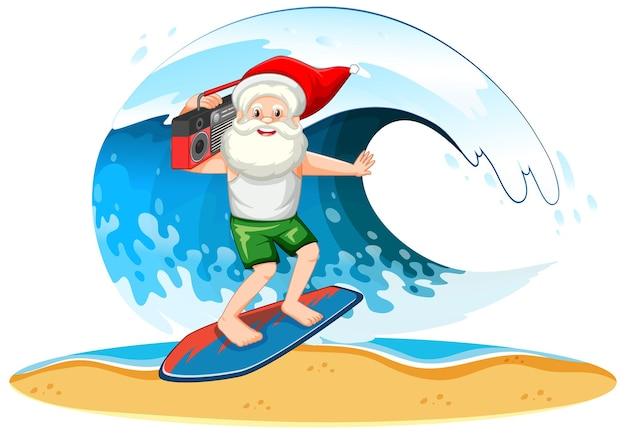 Papá noel navegando con ola en tema de verano sobre fondo blanco.