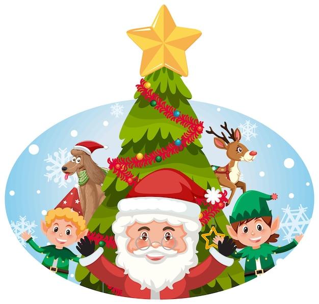 Papá noel con niños felices y árbol de navidad