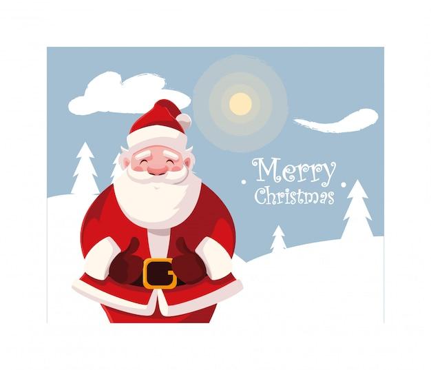 Papá noel en paisaje de invierno con letras de feliz navidad