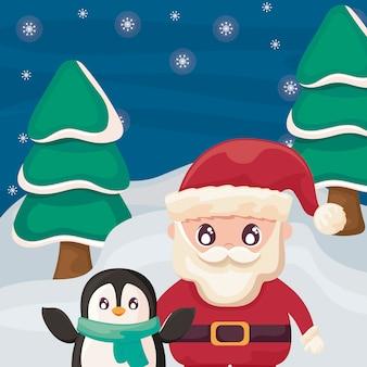 Papá noel con pingüino en paisaje de invierno
