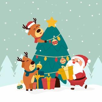 Papá noel y renos con árbol de navidad