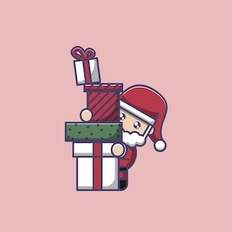 Papá noel trae muchos regalos navideños