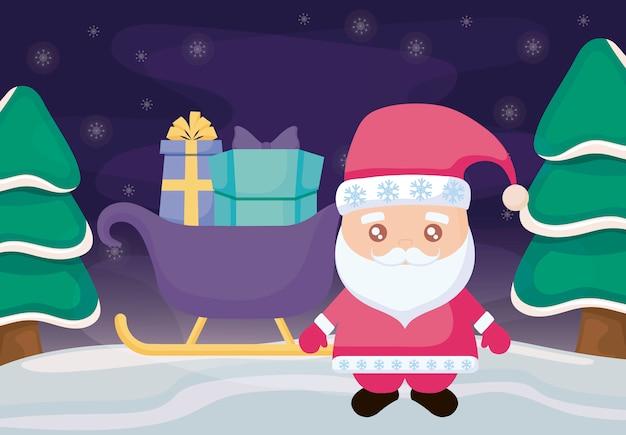 Papá noel con trineo y cajas de regalo en paisaje de invierno