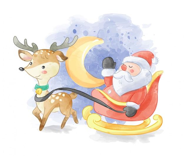 Papá noel en trineo y ciervos ilustración