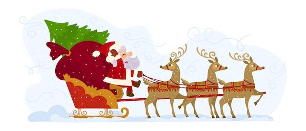 Papá noel en trineo lleno de regalos y sus renos