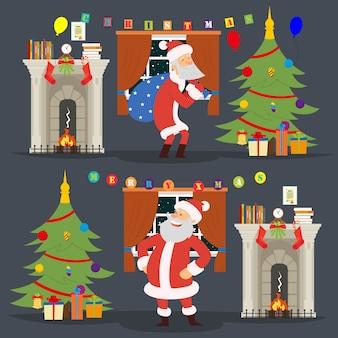 Papá noel vino a la casa para poner los regalos debajo del árbol de navidad para niños.
