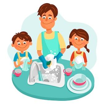 Papá con su hija y su hijo lava platos. los niños, un niño y una niña, ayudan a los padres.